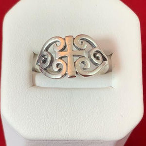 James Avery Sterling Silver Scoll Cross Ring 6